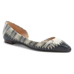 Tory Burch Snakeskin Leather D'Orsay Pointed Flats